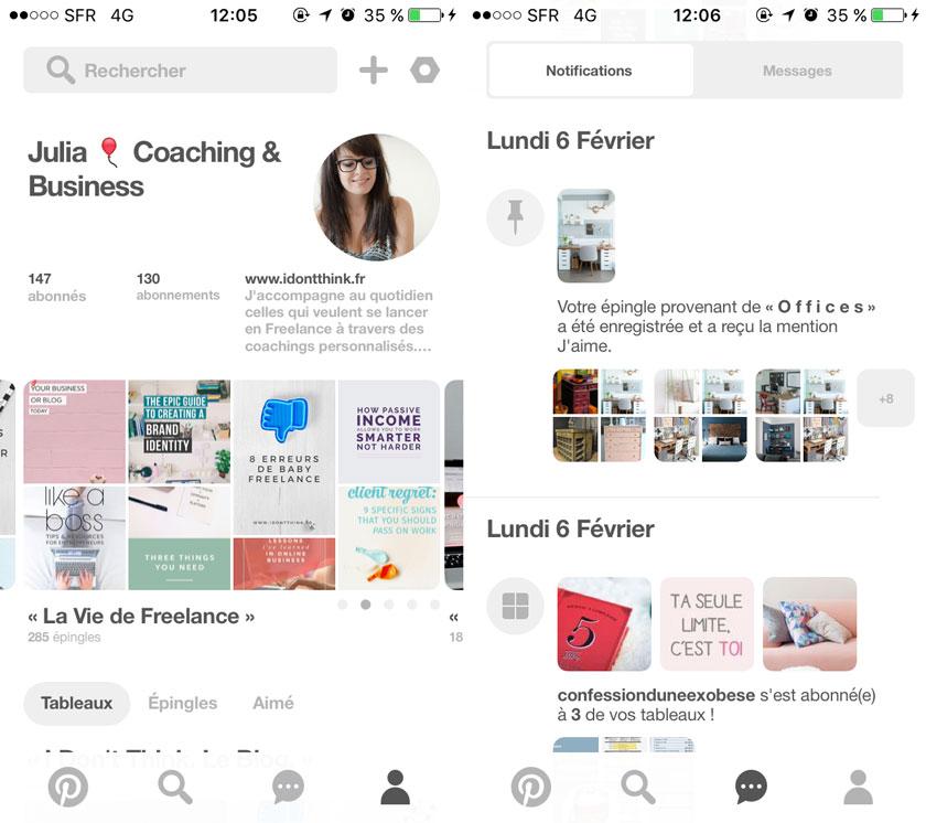 Application Pinterest